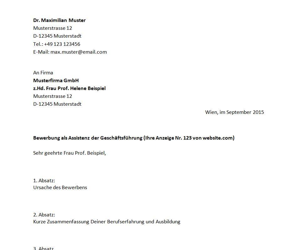 Bewerbungsschreiben Muster | Mein Bewerbungsschreiben